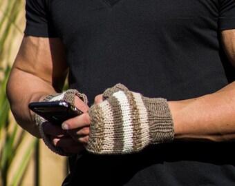 Men, Fingerless Gloves, Cashmere, Beige, Italian Cashmere,Cream, Medium Beige, Lambswool, Hand Knit, Stripes, Cashmere, Gloves, Great  Gift,