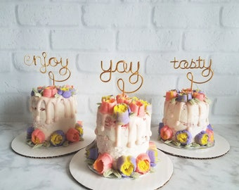 Set of 3 -  Enjoy Yay Tasty Cupcake Topper - Wire Cupcake Topper - Wedding - Engagement - Valentines - Anniversary - Birthday - Baby Shower