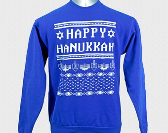 Hanukkah Sweater Funny Happy Hanukkah Sweater Judaica Ugly Hanukkah Sweater Sweatshirt Unisex Adults Jewish Family Shirt Set