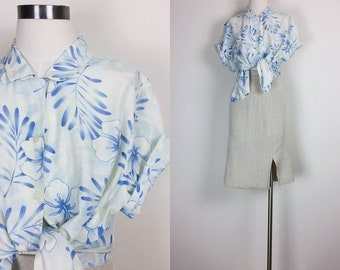 vintage silk blouse silk shirt silk top floral shirt botanical shirt size L/XL