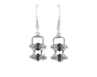 MINI All Stainless Black Crystal Centers Bike Chain Earrings Stainless Steel Motorcycle Biker Jewelry