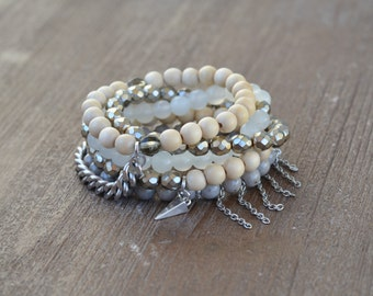CLOSEOUT Misty Stack - Beaded Stretch Bracelet Stack - Gray and Silver Bracelet Stack Set - Wood Bead Bracelet - Arm Candy - Charm Bracelet