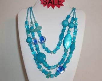 Turquoise Blue Vintage Beaded Three Strand Necklace Costume Jewelry Statement Fashion Style Glass & Plastic Beads Woman Layered wvluckygirl