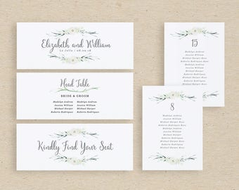 Wedding Seating Plan Template, Seating Plan, Seating Chart Cards, Table Number, Table Cards | Edit in Word or Pages
