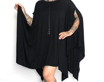 Flowing Oversized witchy tunic top black