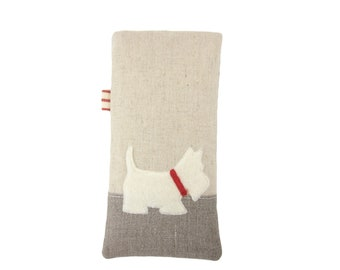 Linen Scottie Dog Glasses Case, Soft Padded Sunglasses Pouch, Personalised Gift for Dog Owner