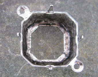 12mm Octagon Pronged Connector Link Setting 1 Ring Antique Silver 996 - 12 pieces
