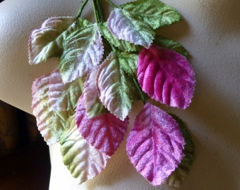 Pink Romance Leaves Velvet Millinery for Bridal, Boutonnieres, Hats, Headbands, Costumes ML 18ndl