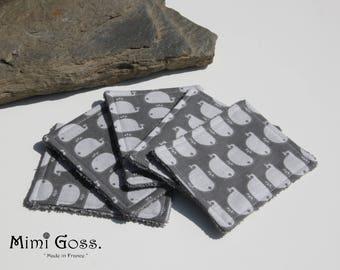 lot de 5 lingettes lavables en tissu éponge/coton.