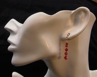 Heat  -  Swarovski Bright Red Crystal earrings in Sterling Silver