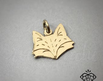 14K Solid Gold Fox Charm —  Gold Fox Necklace — Fox Necklace — Gold Fox Charm Necklace — Fox Jewelry — Tiny Fox Charm — Fantastic Fox Charm