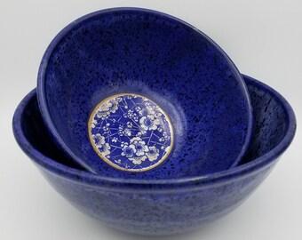 Set of 2 Handmade Wheel-Thrown Stoneware Pottery Nesting Bowls with Blue Cherry Blossom Motif inside each Bowl