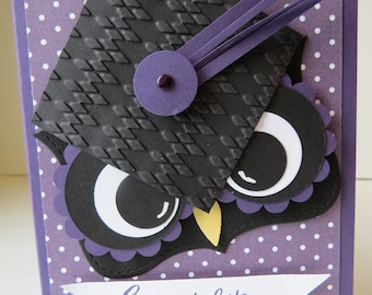 "Graduation Card, Congratulations Card, Graduation 2018 Card ""Owl"" English or French"