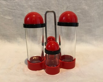 1970s Borgonovo Glass and Plastic Condiment Set Made in Italy