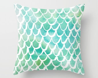 Mermaid Throw Pillow . Watercolor Pillow . Mermaid Cushion . Aqua Pillow . Mermaid Tail Pillow . Watercolor Cushion 14 16 18 20 inch