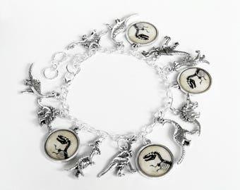 T-Rex Charm Bracelet - Dinosaur Charm Bracelet in Silver - Tyrannosaurus Rex