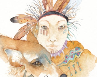 Wolf spirit original watercolor Native American 'Warriors of the Rainbow'