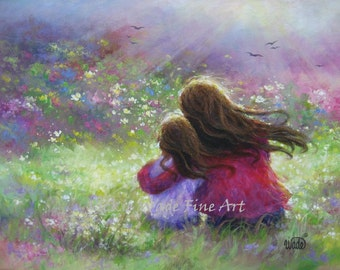 Mother Daughter Art Print, garden mother, loving mother brunette daughter, paintings, girls room, wall art, mother's day, Vickie Wade art