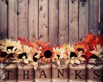 Thanks Mason Jars, Thanksgiving, Mason Jars, Thanksgiving Decor, Fall Decor, Fall Wedding, Thankful, Autumn, Home Decor, Centerpiece, Fall