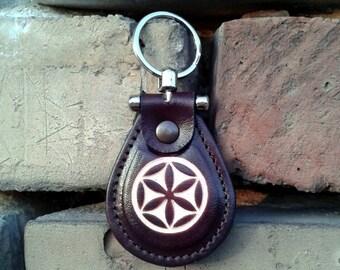 Slavic Mythology God Perun Symbol leather metal T keychain  - FREE shippng