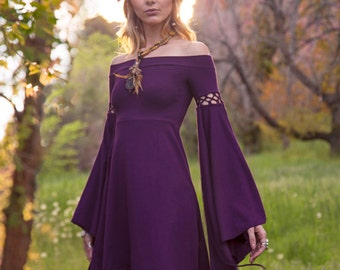 Summer's Eve Dress ~ Elven Forest, Bohemian, Romantic, Elven Dress, Festival Clothing, Ren Faire, Fairy, Boho, Fun Sleeves, Renaissance