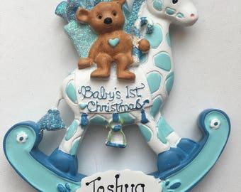 33% Off Blue Giraffe Personalized Baby Boy's   First Christmas Ornament Gift Newborn, 1st Birthday ,Birth Announcement , Christening Favors