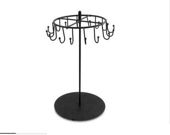 Rotating Spinning Necklace and Jewelry Black Metal Display Rack