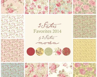 3 Sisters Favorites Fat Quarter or Half Yard Set | 3 Sisters fabric | Moda Quilting fabric