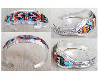 Beautiful Pattern Inlay Sterling Silver Bracelet size 6-1/2