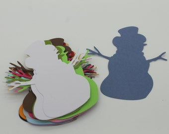 SNOWMAN, cut paper, set of 20 die cut cardstock, embellishment, supply, scrapbooking, winter, snow, Christmas, holiday, ski, invitation