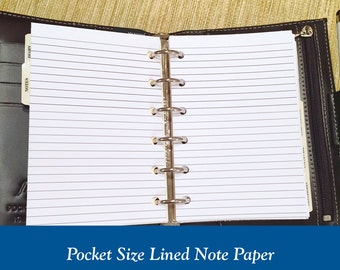 Pocket Size Lined Note Paper Planner Inserts