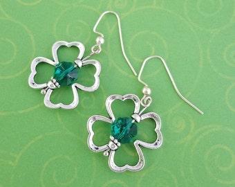 St. Patricks Day Green Swarovski Crystal Clover Earrings, St Patricks Gift, Ireland Jewelry, Irish Jewelry, St Patricks Jewelry