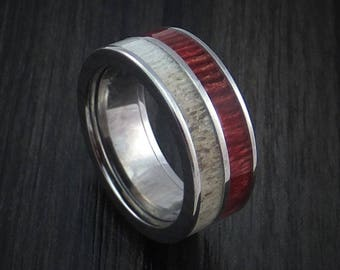 Titanium ring with bahama wood and antler inlays custom made