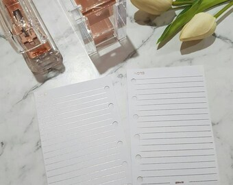 Pocket (PM) Small ROSE GOLD foil Notes planner inserts paper | Physical Planner refills for Kikki k, Filofax, Louis Vuitton agenda