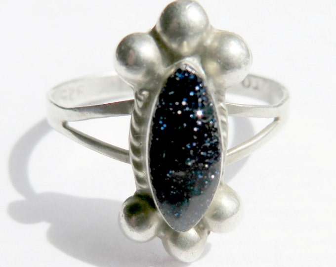 Vintage Black Goldstone Ring - Taxco Mexico Sterling Silver Ring