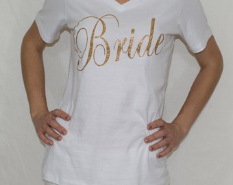 BRIDE shirt, bridal shower shirt, bachelorette party, shirt for bride, glitter bride, wedding day shirt, gift for bride