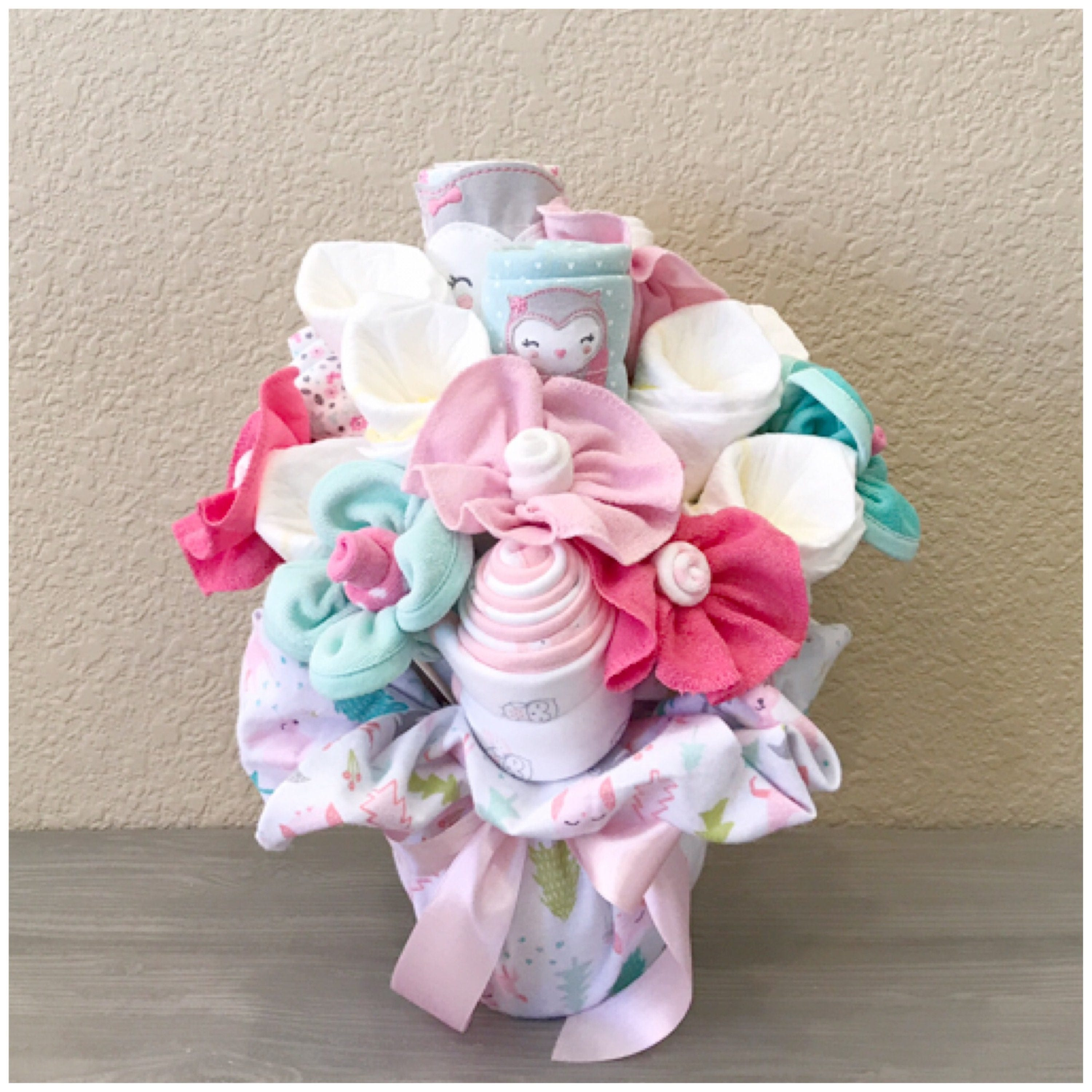 Baby gift for girl pink and teal owl themed baby clothing baby gift for girl pink and teal owl themed baby clothing bouquet floral nursery decor owl baby shower centerpiecegift negle Choice Image