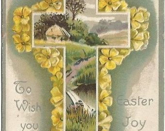 Spring Meadow and Cottage within Christian Cross Surrounded by Yellow Buttercups  Easter Greeting Vintage Postcard