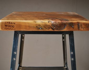 "Reclaimed Wood and Steel Industrial Shop Stool. Made in Chicago. Qty (1) 18"" table height"