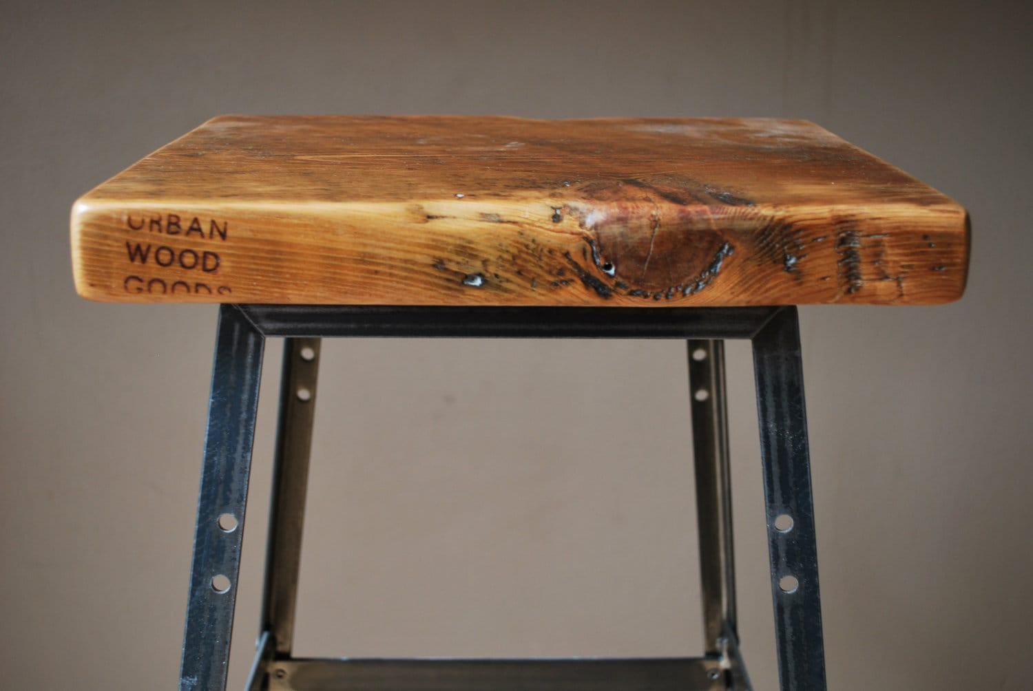 """Reclaimed Wood and Steel Industrial Shop Stool. Made in Chicago. Qty (1) 18"""" table height"""