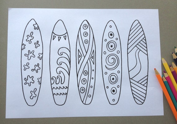 making a surfboard template - surfboard design colouring page adult colouring page kids