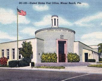 Vintage Post Card Miami Beach Main Post Office Art Deco Architecture