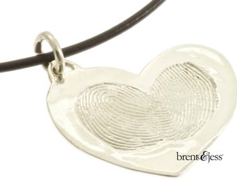 Two Become One Fingerprint Heart Necklace in Sterling Silver