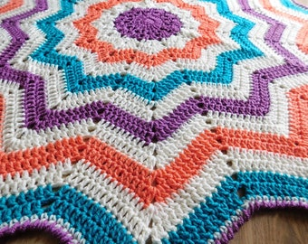 Ivory Carousel 12 Point Star Afghan Blanket