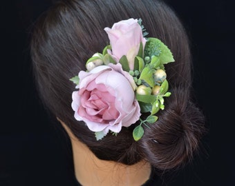 Dusty pink hair clip/ Rose hair clip for women/ Bridal headpiece/ Rustic wedding/ Bridal photooshoot/ Hair clip for bride/ Romantic wedding/