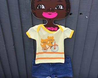 Cute 1970s cat bicycle t shirt children's vintage 18m - 2 years yellow orange