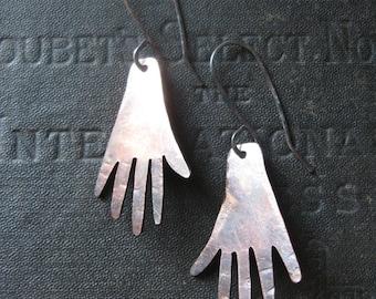 Copper Hand Earrings on Sterling Ear Wires