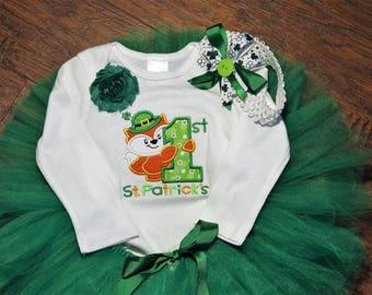 1st St. Patricks Day, first St. Patrick's Day, baby girl clothes,baby girl, bodysuit, baby tutu, green tutu, St. Patricks Day headband, fox