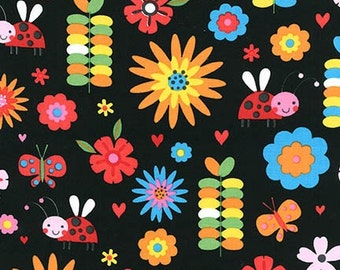Jump Into Fun Floral 15393-195 Bright Black by Amy Schimier-Safford for Robert Kaufman