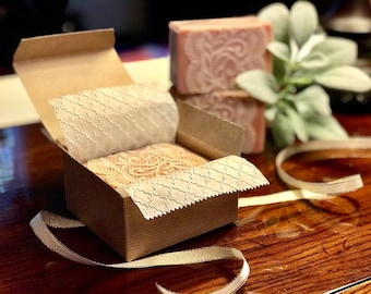 """Facial soap """"Country Chic"""", Silk soap, Natural soap, Artisan soap, Shea and Kokum butter, Triple butter soap"""